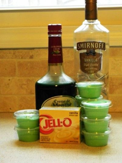Shamrock Shake Pudding Shots In a large bowl, whisk together one packet of vanilla pudding, 1/4 cup vanilla vodka and 3/4 cup creme de menthe. When this is mixed well, fold in one container of cool whip. Spoon into clear plastic pudding shot cups and allo...