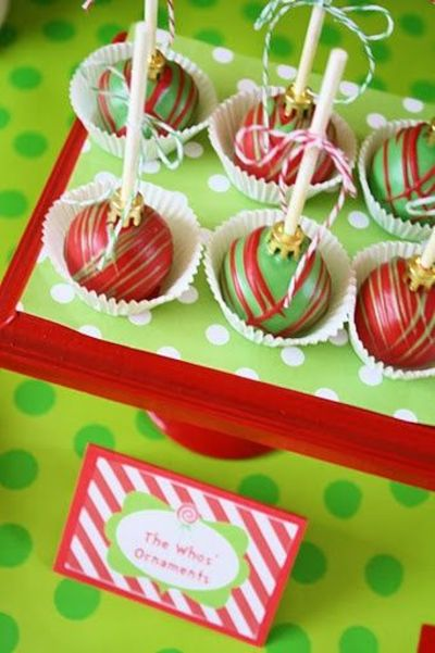 Grinch Themed Dessert Table Cake Ball Ornaments