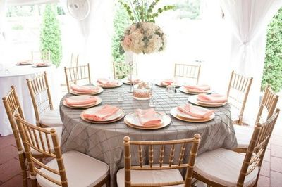 Pink Gray Table Setting