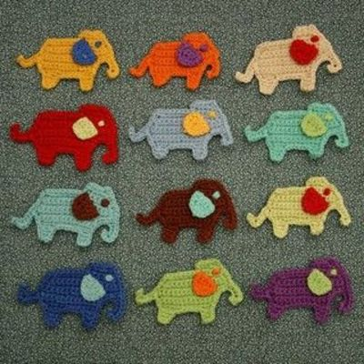 elephant crochet applique