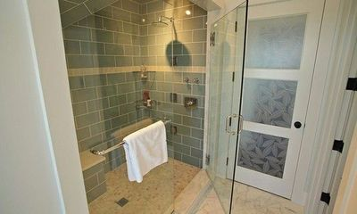 Blue Glass Large Subway Tiles, Frameless Shower