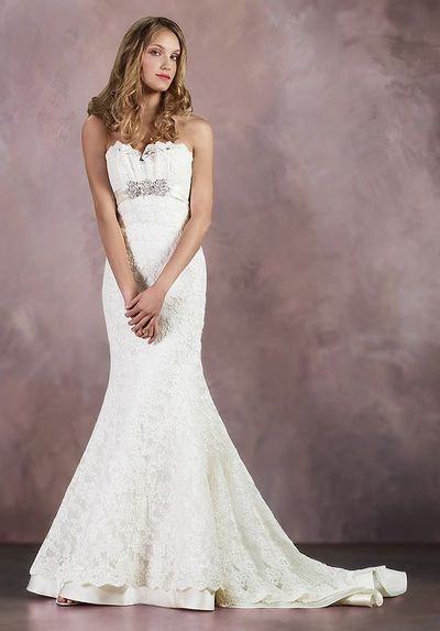Mermaid Strapless Floor Length Attached Alencon Lace/ Silk Charmeuse Beading/ Brooch/ Lace Wedding Dress Style 4841