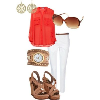 love coral with white ...this ensemble is so fun and vibrant!