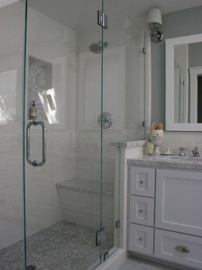 Bathroom White Subway Tile With Marble Shower Design Pictur Bath