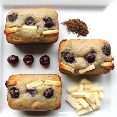 white chocolate dark cherry muffins