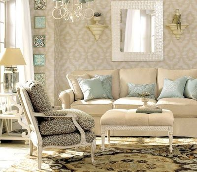 Vintage Cream And Light Blue Living Room With Chandelier For The