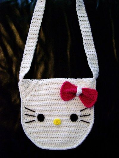 Crochet Purse Patterns Hello Kitty : Crocheted Hello Kitty Purse, For Teen Girls. USD22.00, via ...