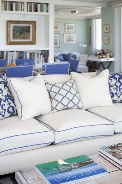White Sofa W Blue Piping For The Home Juxtapost