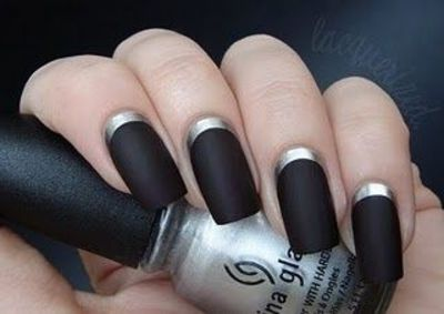 Matte Black And Silver Nails Matte Black Nails With