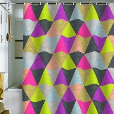 Geometric Neon Shower Curtain