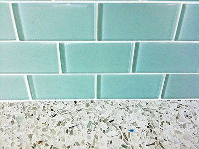 turquoise glass subway tile backsplash with recycled glass