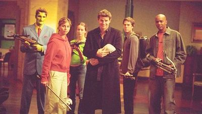 Team Angel: Lorne, Cordy, Fred, Angel, [baby] Connor, Wesle