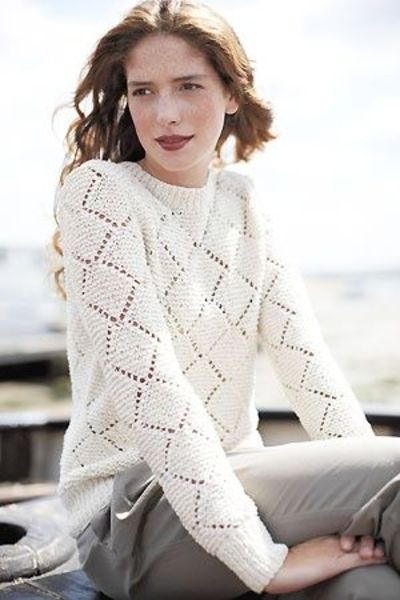 Lace Knitting Patterns For Sweaters : Beautiful but simple diamond lace sweater free knitting