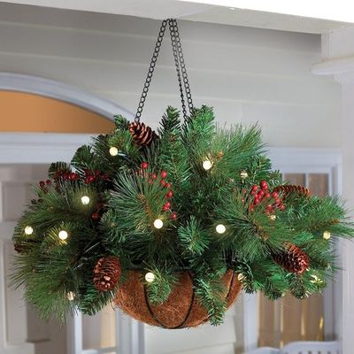 Winter hanging basket great idea to replace those for Christmas decoration 94