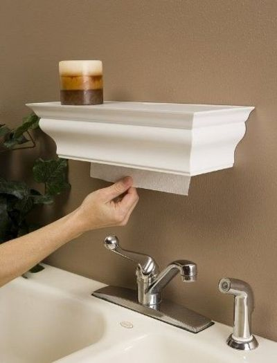 Shelf paper towel dispenser easy to make with crown molding for my kitchen juxtapost for Home bathroom paper towel dispenser