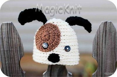 Crochet Pattern For Baby Dungarees : Puppy Dog Newborn Baby Crochet Hat / crochet ideas and ...