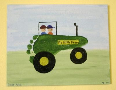 Tractor footprint craft project farmer unit preschool for Tractor art projects