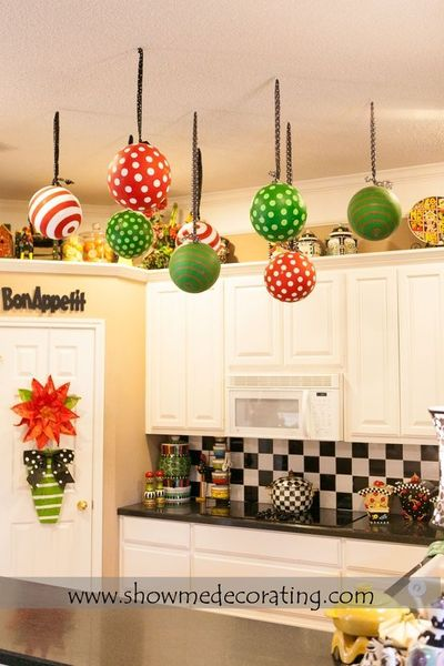 Christmas decor Oversized Christmas ornaments tied with  ~ 085417_Christmas Decoration Ideas For Office Ceiling