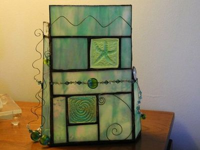 Stained Glass Aqua and Green Candle Holder and by TotoloStudio, $75.00