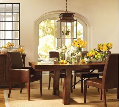 BENCHWRIGHT EXTENDING DINING TABLE   RUSTIC MAHOGANY STAIN $1,699.00