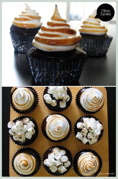 Campfire Smore's Cupcakes with Chocolate Ganache filling and Marshmallow Topping