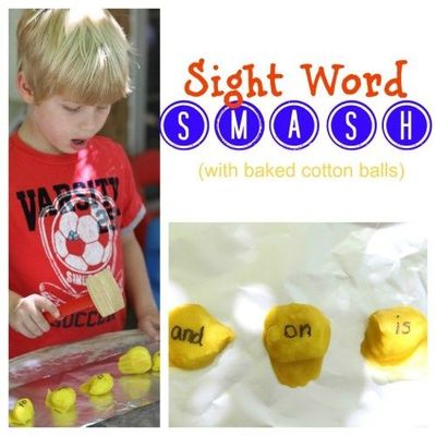 Name and Sight Word Smash with baked cotton balls!