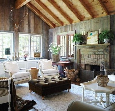 Rustic Cottage Living Room wood Paneling rustic A Gutsy