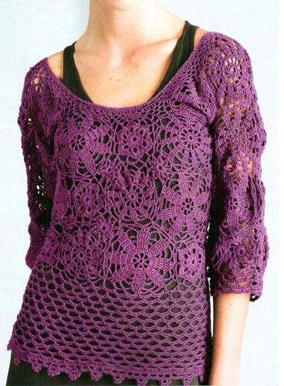 Site Crochet : Polera crochet, crochet blouse, pattern in spanish / crochet ideas and ...