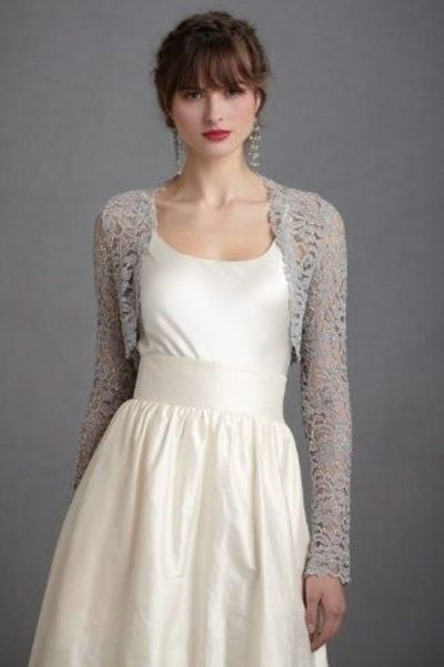 Long Sleeve Lace Wedding Gown Cover Up Gowns