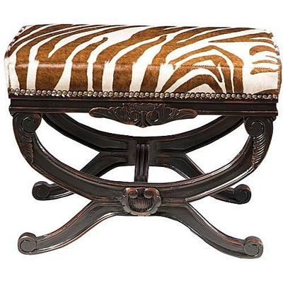 Love this carved bench with brown and white zebra and nail head trim- fab to put in front of living room fireplace??