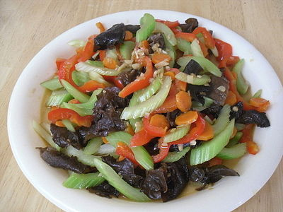 Healthy Veggies With Woodear: Easy and healthy stir-frying super food celery, carrot, red bell pepper, garlic and woodear.