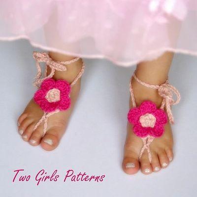 Free Crochet Pattern Baby Barefoot Sandals : Babies Barefoot Sandals Crochet Pattern Free