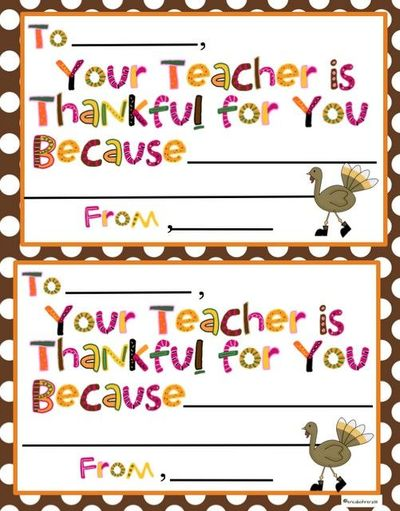 Your Teacher is Thankful For You Notes