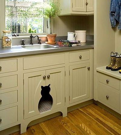 Utility Sink With Cabinet Base : cat cut-out in sink base cabinet, laundry room, hidden cat l... / for ...