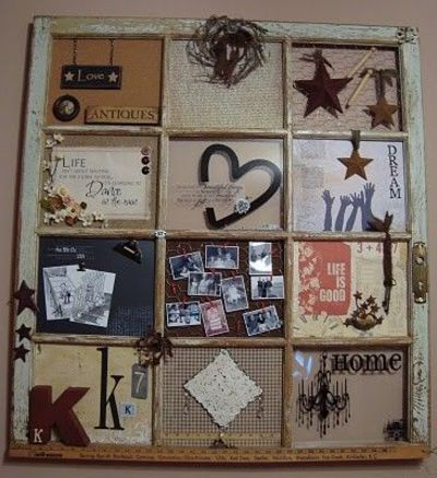 Turn an antique window pane into a really creative wall for Creative ideas for old picture frames