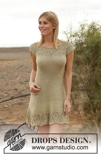 Free pattern. Knit dress with round yoke and lace pattern. / crochet ideas an...