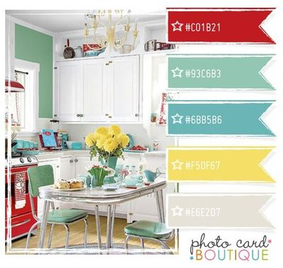 Retro kitchen color scheme love papercraft juxtapost - Yellow and blue paint scheme ...