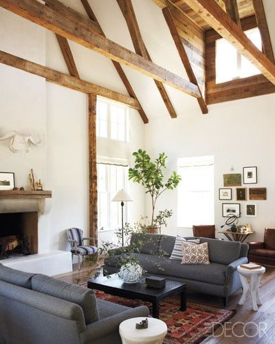 Exposed beams vaulted ceiling want for the home for Vaulted ceiling with exposed trusses