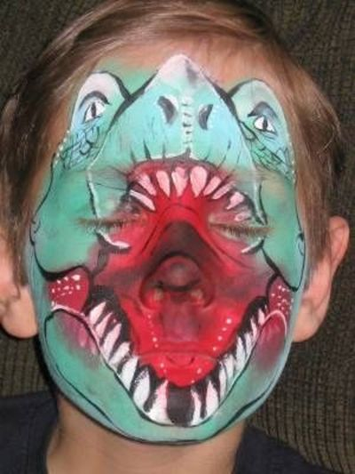T Rex face paint  pretty cool! / halloween time!  Juxtapost - Cool And Easy Halloween Makeup