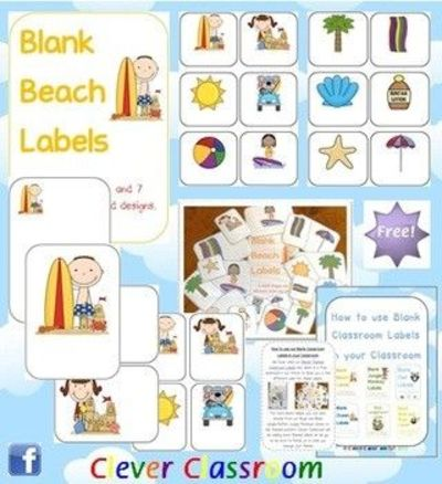 free beach themed blank classroom labels pdf file48 pages