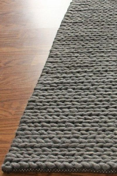Chunky Thick Cable Wool Rug Grey Knits And Kits