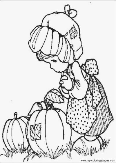Fall scarecrow coloring precious moments coloring pages for Precious moments halloween coloring pages