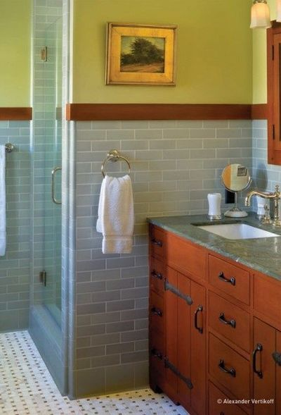 Subway tile bathroom craftsman bath ideas juxtapost for Craftsman bathroom designs