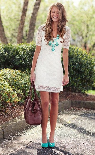 White Lace Dress Engagement Photos Or Wedding Shower Leaving