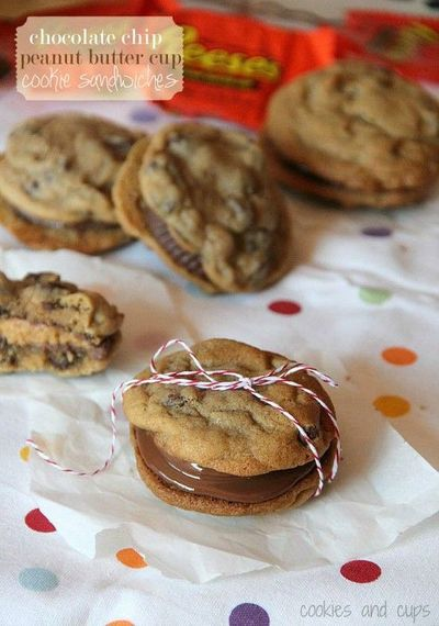 Chocolate Chip Peanut Butter Cup Cookie Sandwiches.