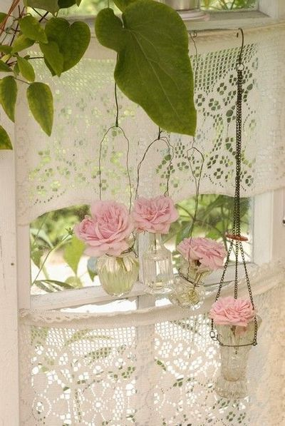 pink roses and lace curtains/ window # Pin++ for Pinterest #