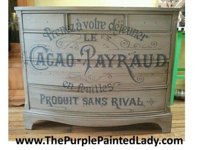 "Dresser painted in Annie Sloan Chalk Paint�""� Decorative Paints- color CoCo & Graphite. The message on the front? From a vintage French sign ...what about? Chocolate! Image used courtesy of The Graphics Fairy! Dresser was Dark Waxed and is totall..."