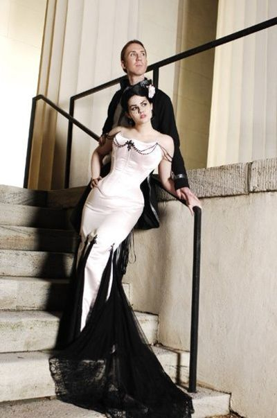 Black And White Mermaid Wedding Gowns : Black and white mermaid skirt corset top wedding dress gowns
