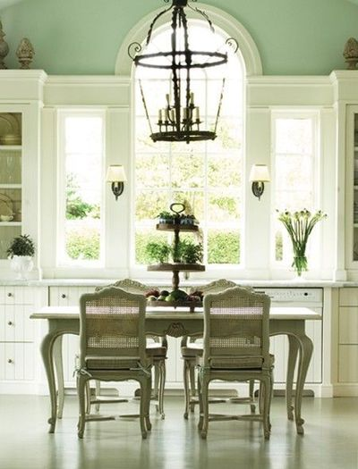French country kitchen pale green walls white cabinetry for French country green kitchen