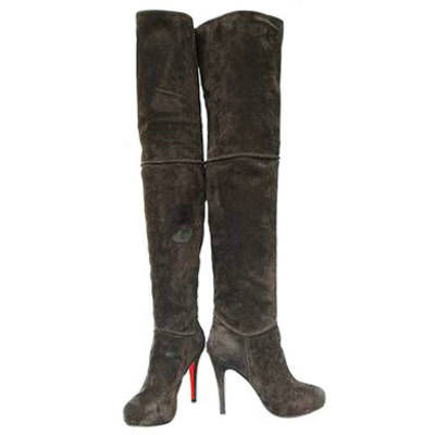 christian louboutin suede platform thigh high boots